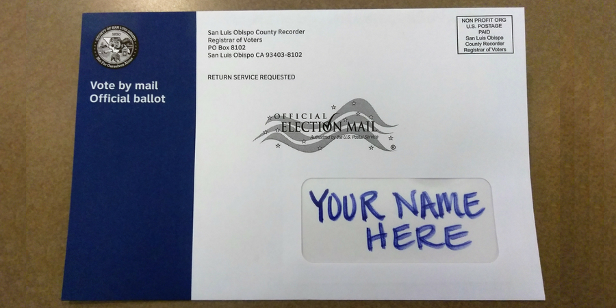 A sample vote-by-mail ballot