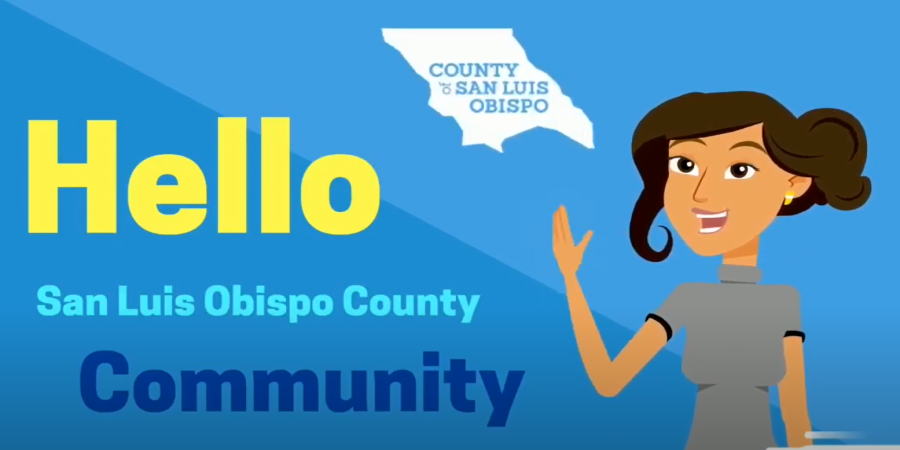 Hello San Luis Obipso community graphic Click to view article, SLO County Agencies Work Together to Provide Food Resources During COVID-19