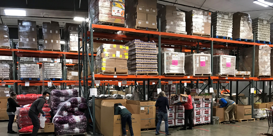 Warehouse of food for delivery