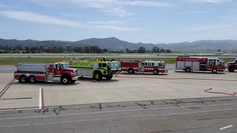 Emergency response vehicles on duty at the Airport Preparedness Drill