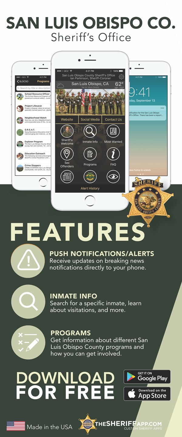 SLO Sheriff's Office mobile app graphic