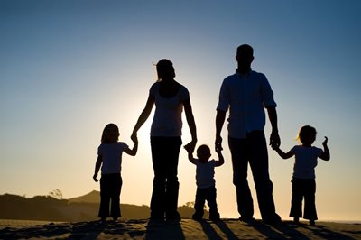 Picture of a family at sunset